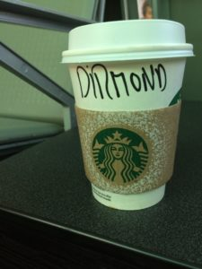 Diarmaid (as in Diarmaid Mac Mathúna) misspelled on a Starbucks cup