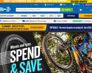 Screen grab of Chain Reaction Cycles website